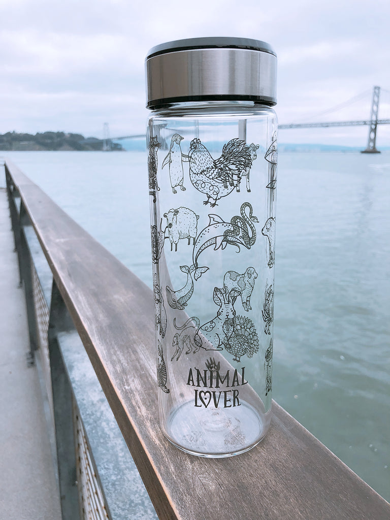 Animal Lover glass tumbler with carrying bag