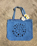 Freedom for all denim zippered tote bag