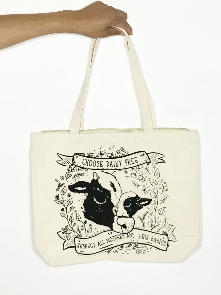 Choose Dairy Free zippered tote bag