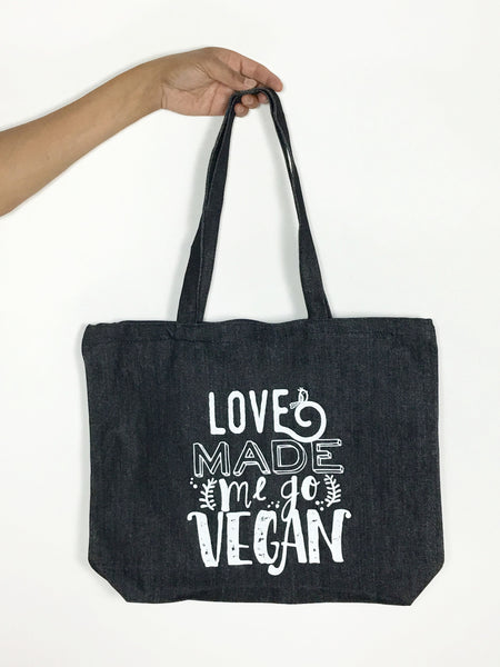 Love Made Me Go Vegan zippered tote bag
