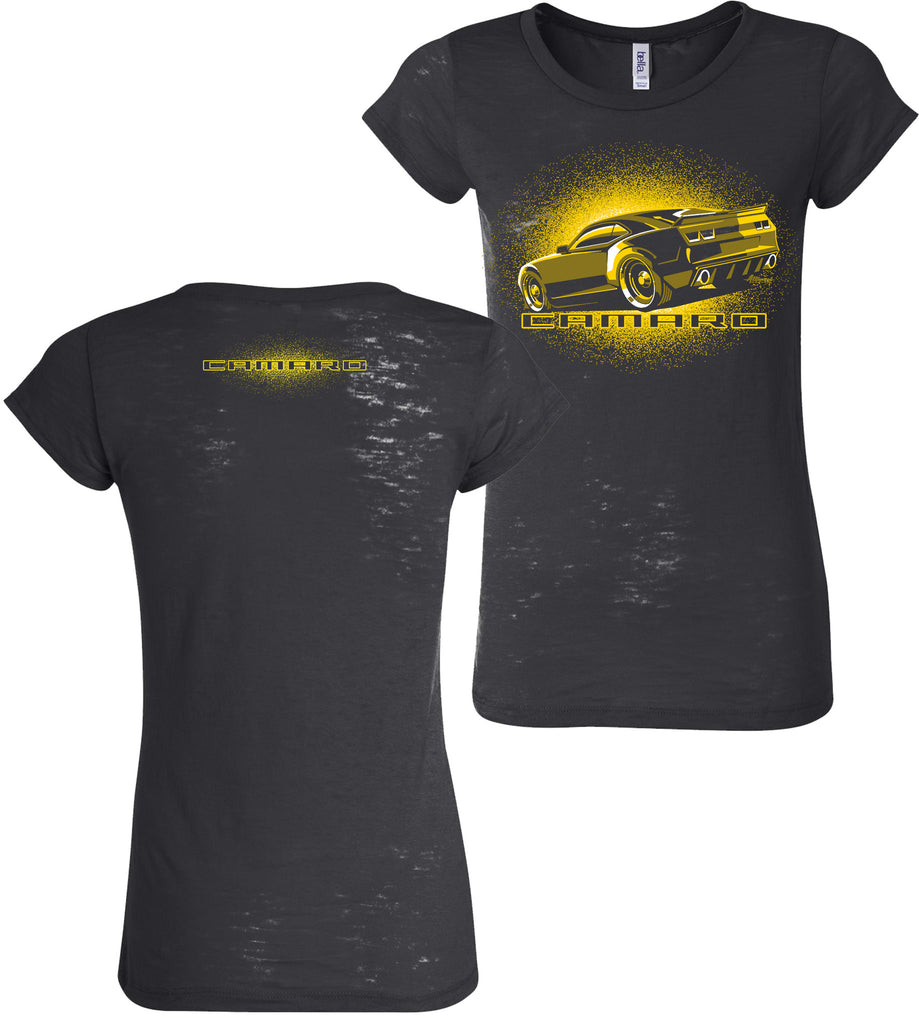 Ladies 2010 Camaro Burnout T-Shirt - Car Shirts Guy