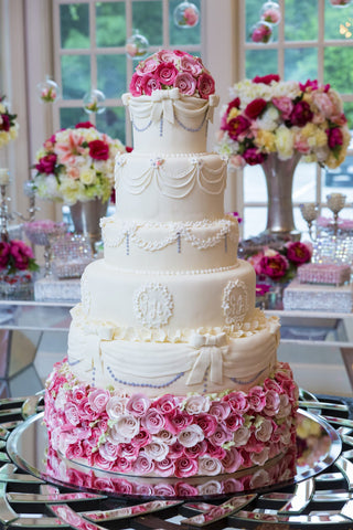 Wedding Cake Multi-Tiers with Edible Romantic Flowers - Cakes - Tasty Habits Bakery