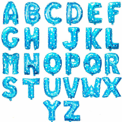16 Inch Alphabet Foil Balloons Blue (non-inflated) - Party Supplies - Tasty Habits
