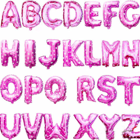 16 Inch Alphabet Foil Balloons Pink (non-inflated) - Party Supplies - Tasty Habits
