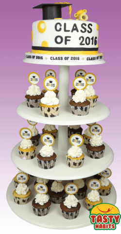 Cake With Toppers and Cupcakes Combo - Cakes - Tasty Habits Bakery
