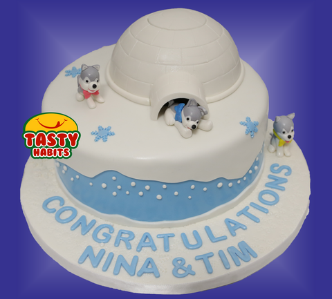 Husky Puppies Toppers Cake - Cakes - Tasty Habits Bakery