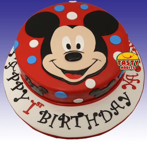 Mickey Face Cake - Cakes - Tasty Habits Bakery