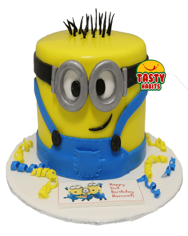 Minion Face on Side Cake - Cakes - Tasty Habits Bakery
