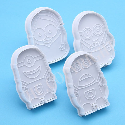 4 pc SET Cartoon Mould Despicable me Minion Cookie Cutter Plunger - kitchenWare - Tasty Habits