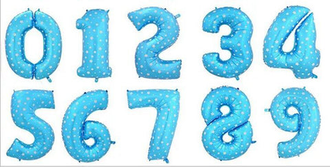 16 inch Blue Number Foil Balloons (Air Inflated) - Party Supplies - Tasty Habits
