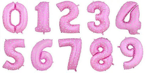 16 inch Pink Number Foil Balloons (not inflated) - Party Supplies - Tasty Habits