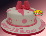Pink Polka Dots Cake with Bow Topper - Tasty Habits  - 1