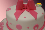 Pink Polka Dots Cake with Bow Topper - Tasty Habits  - 2