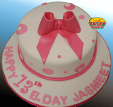 Pink Polka Dots Cake with Bow Topper - Tasty Habits  - 3