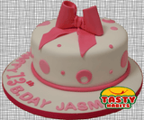 Pink Polka Dots Cake with Bow Topper - Tasty Habits  - 4