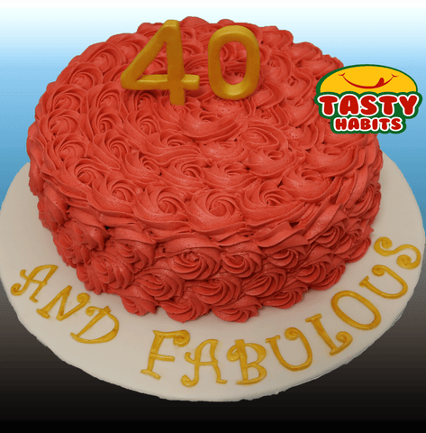 Rosette Cake Covered in Icing with 3D number topper - Tasty Habits  - 2