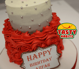 Rosette 2 Tiers Red And Grey Cake with Topper and Chocolate Plate - Cakes - Tasty Habits Bakery