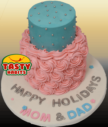 Buttercream and Rosette Pink & Blue 2 Tiers Cake - Tasty Habits  - 1