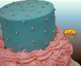 Buttercream and Rosette Pink & Blue 2 Tiers Cake - Tasty Habits  - 2
