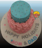 Buttercream and Rosette Pink & Blue 2 Tiers Cake - Tasty Habits  - 4
