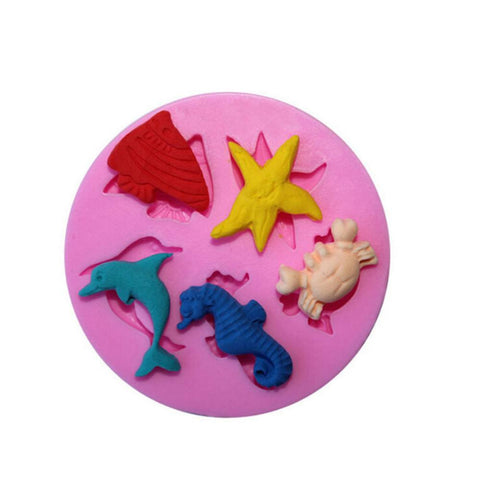 3D Dolphin Crab Fish Seahorse Starfish Silicone Mold - kitchenWare - Tasty Habits