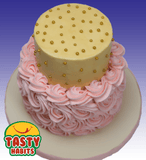 Buttercream and Rosette 2 Tiers Cake - Tasty Habits  - 2