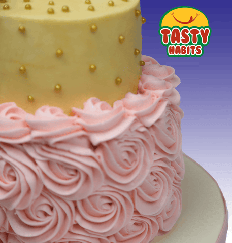 Buttercream and Rosette 2 Tiers Cake - Tasty Habits  - 1