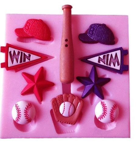 Baseball & Glove & Bat & Cap & Five-pointed Star Shape Silicone Fandont Mold - kitchenWare - Tasty Habits