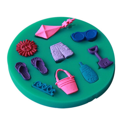 3D Happy Summer Beach Vocation Sun Kite Sea Wave Slipper Shorts Fondant Decorating Mould - kitchenWare - Tasty Habits