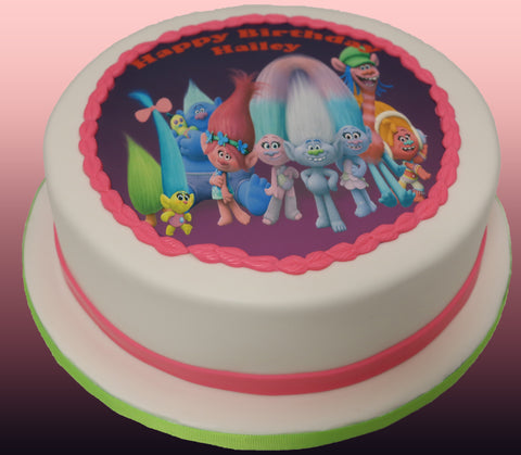 Trolls Theme Edible Printed Image Cake - Cakes - Tasty Habits Bakery