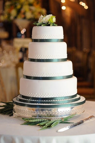 Simple Elegant Cake - Multi - Tier Green Ribbon - Tasty Habits