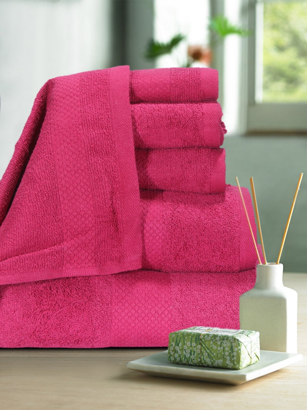 cotton towel set online,set of 6 towel set online,bath hand & face towel set