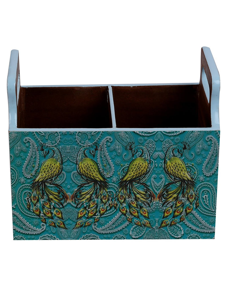 Handcrafted Pleasing Peacocks Wooden Cutlery Holder