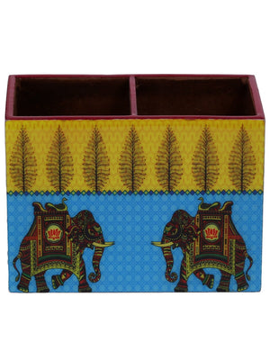 Handcrafted Turquoise Elephant Wooden Cutlery Holder