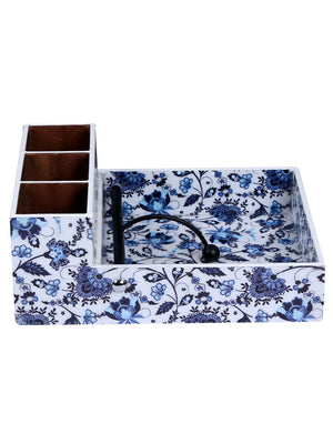 Handcrafted Persian Floral Wooden Cutlery Cum Tissue Holder