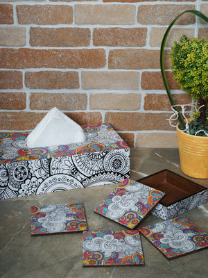Handcrafted Paisley Tissue Box Cover with Coasters