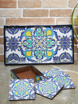 Handcrafted Persian Delight Serving Tray with Coasters