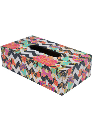 Handcrafted Contemporary Floral Tissue Box Cover with Coasters