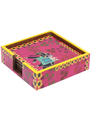 Handcrafted Regal Elephant Tissue Box Cover with Coasters