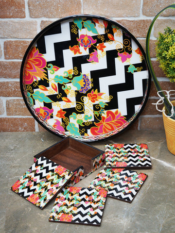 Handcrafted Contemporary Floral Serving Tray with Coasters