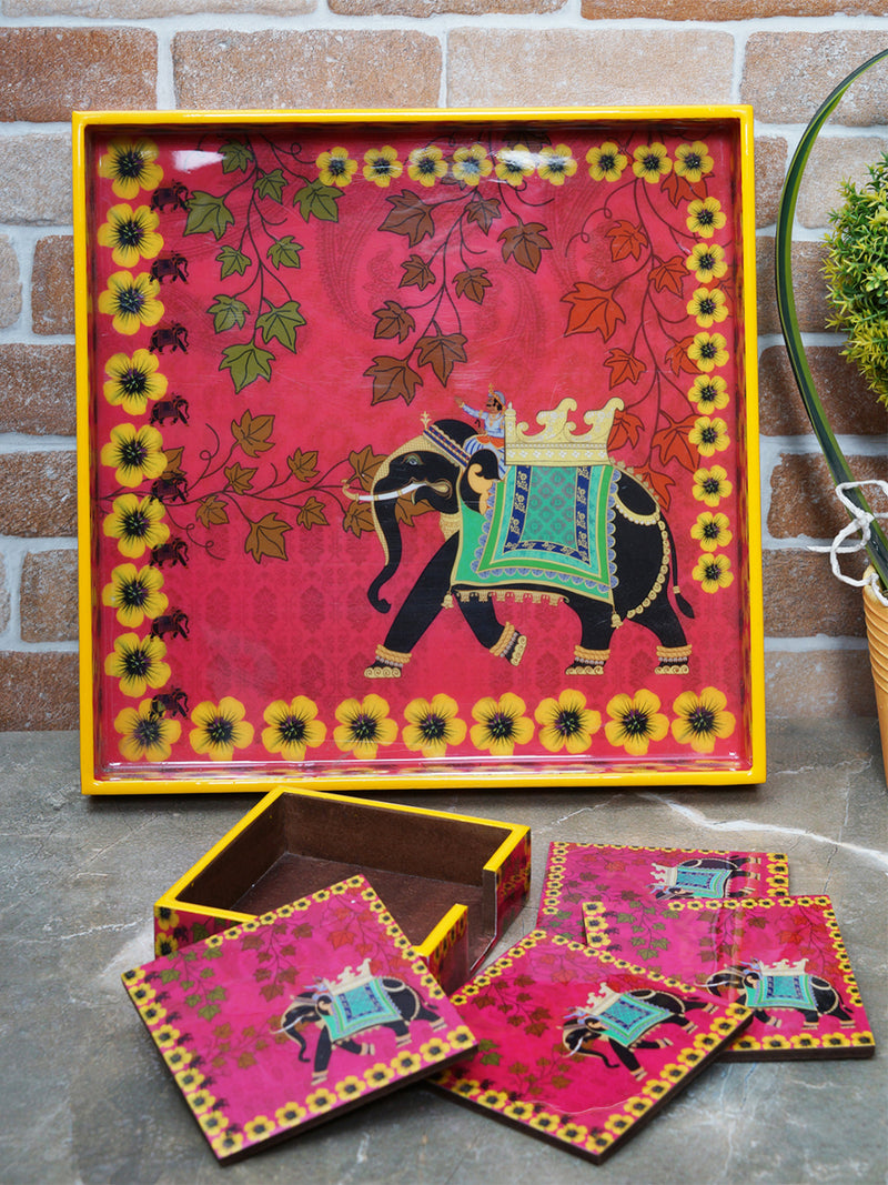 Handcrafted Regal Elephant Serving Tray with Coasters