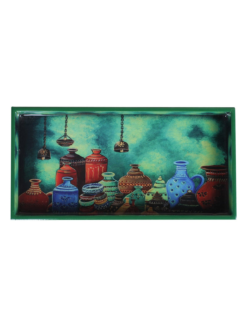 Handcrafted Indian Pots Serving Trays (Set of 2)