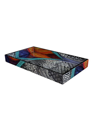 Handcrafted Wave Patterns Trays & Tissue Box Holder (Set of 3)