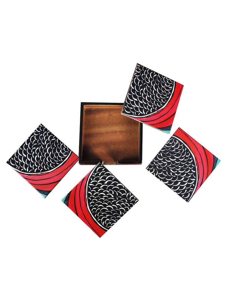 Handcrafted Wave Patterns Tissue Holder with 4 Coasters with stand