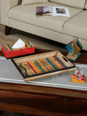 Handcrafted Mangowood Tray With Tissue Box & Coaster Set (Multicolor)