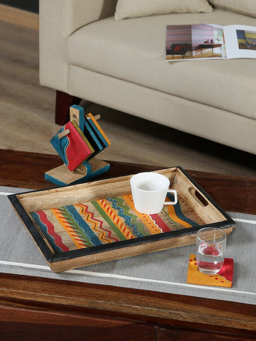 Handcrafted Mangowood Tray With Coaster Set(Multicolor)