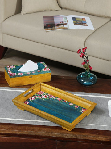 Handcrafted Mangowood Tray With Tissue Box (Nude Green Multicolor)