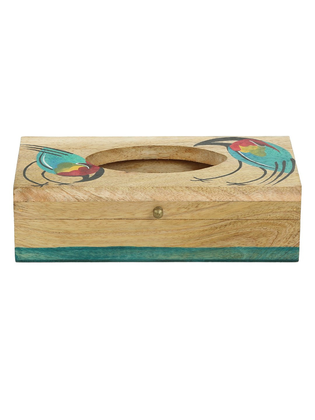Handcrafted Spring Birds Mangowood Tissue Box With Hanging Coaster Set