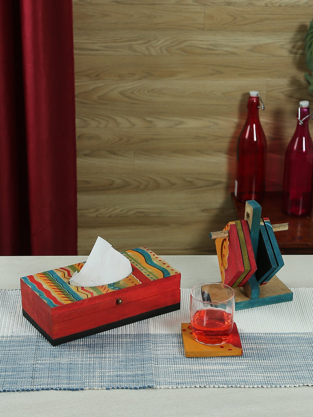Handcrafted Colorwaves Mangowood Tissue Box With Hanging Coaster Set