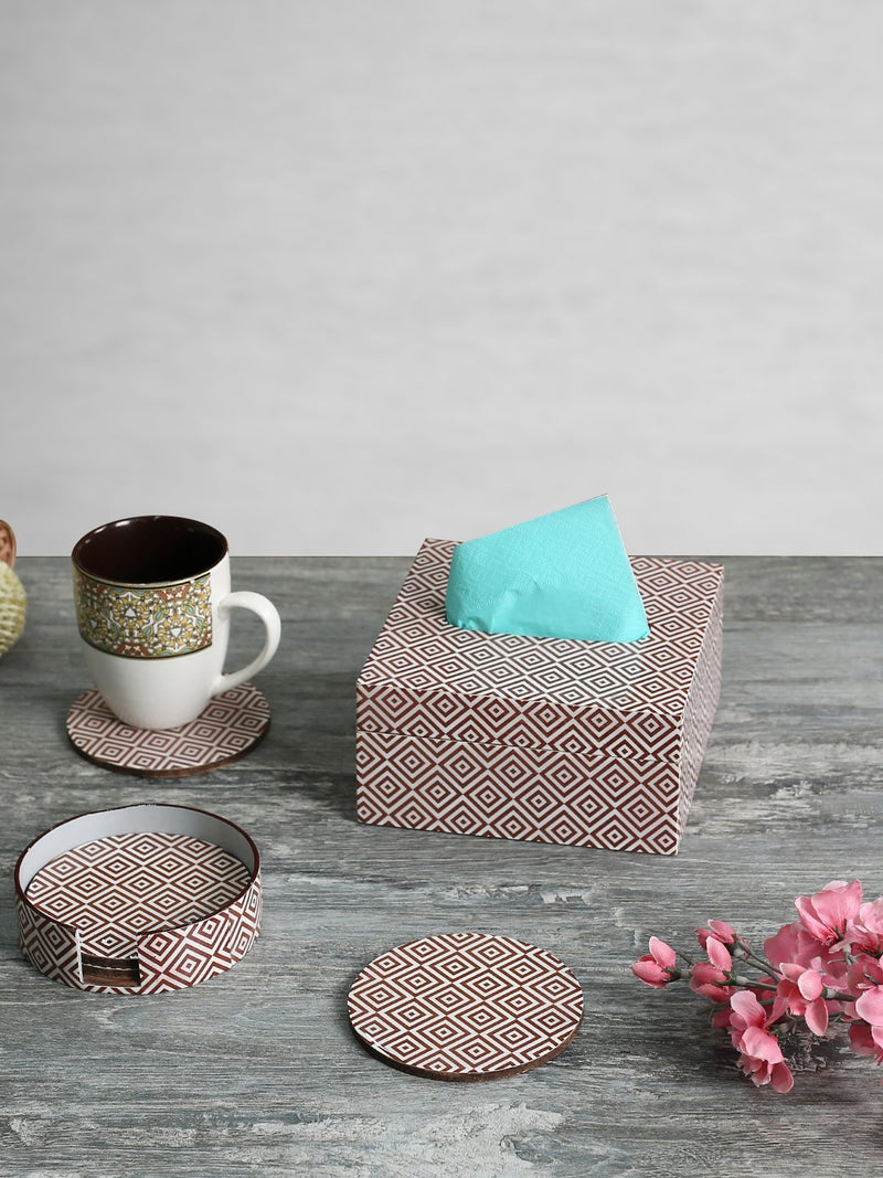 RANGRAGE Geometry Delight Tissue Box With Coasters (Set of 6)